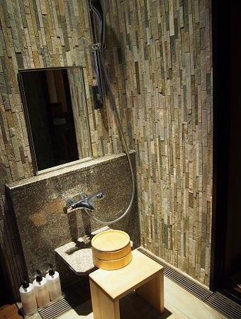 銀水 客室露天風呂 シャワー