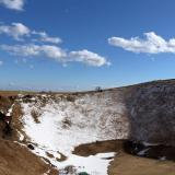 雪化粧をした大室山