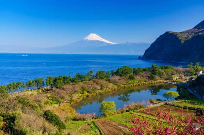 明神池と富士山
